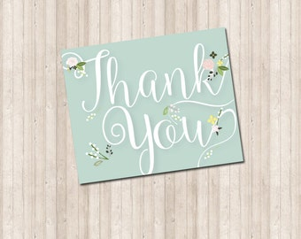 Thank You Note Card - Floral Sprigs in Mint Green