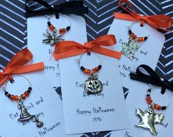 50-95 Custom Halloween Themed Wine Charm Favors - Halloween Party Favors