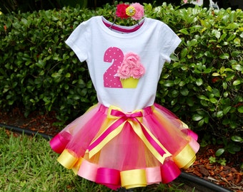 Two Year Old Birthday Girl Outfit-Onesie/Shirt w/ Polka Dot Age #, 3D Cupcake + Hot Pink, Yellow and Pink Tulle & Ribbon Trim Tutu, Headband