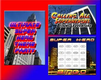 3 Superhero Downloads - Superhero Bingo, Party Adventure and more - for ANY super hero party!