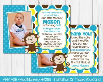 Mod Monkey Birthday Invitations Boy Birthday Invitation OR Thank you card Digital File