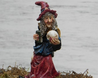 Miniature Fairy Garden Witch with skull and book, accessories for Halloween miniature garden, terrarium supplies