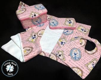 Baby Gift Set (Large Wipe Tub, Travel Wipe case, Changing Pad, Bib and Burp Cloth) - Princess