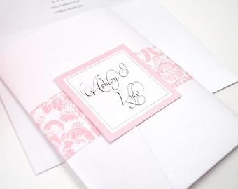 Damask Wedding Invitation, Pocketfold, Pink, Blush, Elegant, Classy, Calligraphy, Script, Ashley Damask Design, Sample