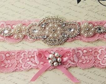 20% OFF Pink Bridal Garter,  Wedding Garter set, Bridal Garter Set, Tossing Garter, Keepsake Garter, Crystal Garter