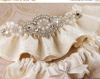 20% OFF Ivory Lace Garter Set, Lace Wedding Garter Set, Ivory Garter Set, Rhinestone Garter, Personalized Garter Set