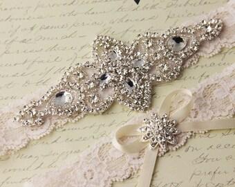 20% OFF Ivory Lace Garter Set, Wedding Garter Set, Bridal garter Set, Rhinestone Garter, Ivory Garter set, White Lace Garter Set