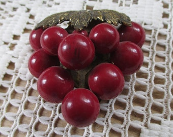 Vintage  Red  bunch of grapes Dress Clip - very ornate leaves on top - Estate find.