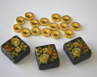 Black Lacquered Floral Painted Wood Cubes For Double Strand Necklace