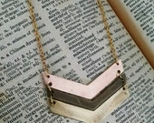 Chevron arrow antiqued brass, 24k gold and rose gold plated long necklace - hand stamp and personalize however you choose