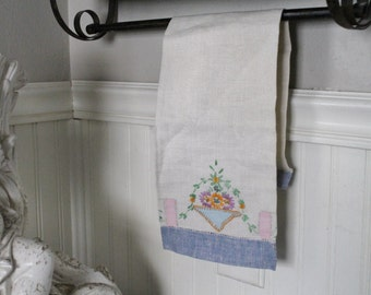Vintage Tea Towel Antique Linen Cotton Embroidered Cross Stitch Farmhouse French Country Chic Decor
