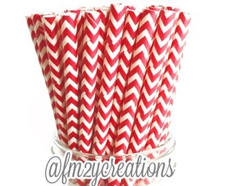 Red Chevron Paper Straws (25) Red Paper Straws, Chevron Red Straws:Cake Pops, Diy Flag, RED Weddings, Carnival Party,Circus Party