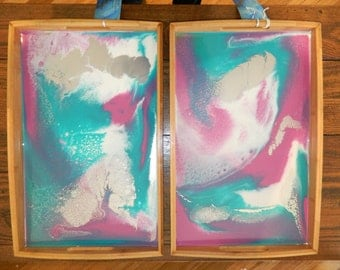 2 x Bamboo and Epoxy Resin Serving Trays - Free shipping!