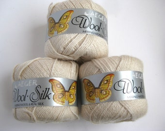 Vintage merino silk blend luxury yarn cream/ light beige colour