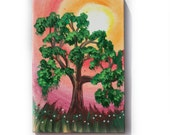 "Green Oak Painting Tree Original small Art 30 KSAVERA 8""x12"" Flowers Sunrise Sunset Sakura painting on canvas birthday for mom her"