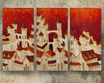 "Large Italian Cityscape Landscape Original Painting ""Dolce Aqcua"" Modern Acrylic old town Art Deco KSAVERA decor for Lounge orange red"