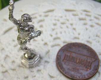 Vintage Sterling Olympic Torch Bearer Charm...3D Olympic Runner With Torch and Flowers...Bracelet...Souvenir