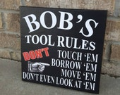 Personalized Garage Sign: Rules for Tools