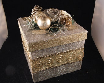 Silver Christmas gift box  with pinecones