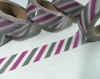 Purple Stripes Washi / Masking Tape - 10M