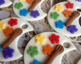 Artist Paint Palette Fondant Cupcake Cookie Toppers