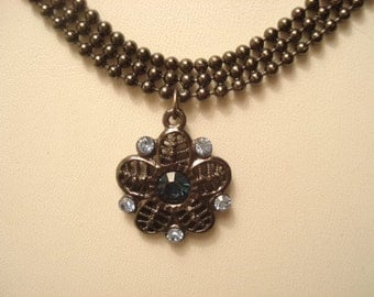 "Pretty Vintage ""1928"" Designer Choker Necklace Black Ball Chain Blue Rhinestone On Flower Pendant"