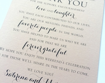 Blush/Rose Gold Shimmer Wedding Welcome Thank You Card to Your Guests - To Our Family and Friends   Wedding Thank You Note