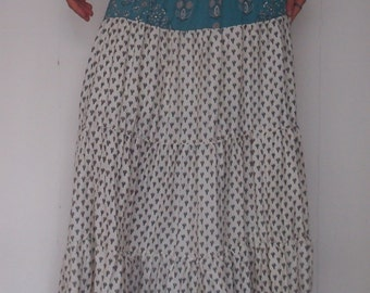 White with green Sacred gypsy women bohemian sateen long skirt & dress