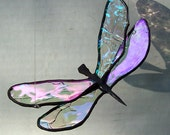 Stained Glass Dragonfly, Flying Dragonfly Suncatcher, Garden Art, Home Decor, Glass Insect, Iridescent Glass Dragonfly, Gift