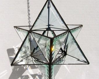 Beveled Glass, Origami Stained Glass, Star of David, Star Tetrahedron, Merkaba, Merkabah, Meditation, Reiki, Sacred Geometry, 3D Star
