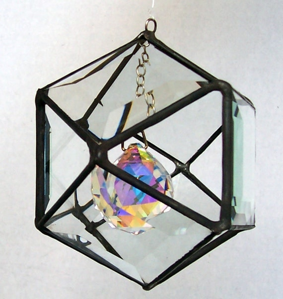 Beveled Glass Octahedron, Stained Glass Orb, Clear Glass Ball, Cuboctahedron, Crystal, Prism, Polygon, 3-D Hanging Suncatcher, Gift