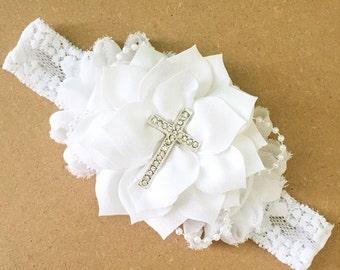 Baptism headband/white/cross