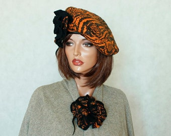Pumpkin and black beret  felted Nunofelt beret with two brooches Nuno felt beret French beret Silk and wool beret