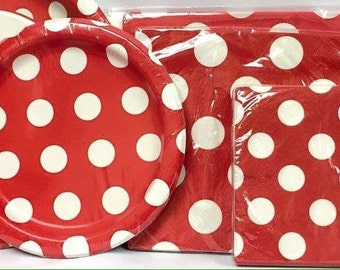 Red Polka Dotted Party Set Party Supplies