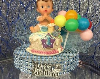 1st Birthday Boy or Girl Cake Topper Centerpiece Balloon Cluster Decoration Keepsake