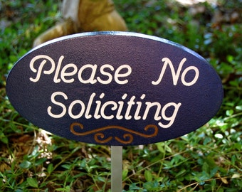 No Soliciting Garden Sign Engraved Wood Plaque With Script Font in Navy Blue
