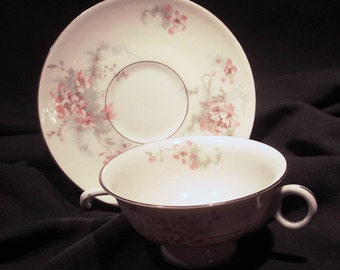 Theodore Haviland Apple Blossom Footed Teacup and Saucer