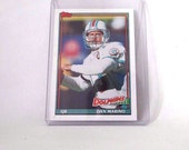 Vintage Dan Marino Football Card, 1991 Topps, #112, Miami Dolphins, quarterback, sports card