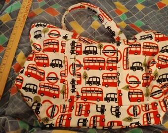 Super Cute Handmade Tote Bag London Buses Design