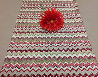 Handmade Tablerunner, 13W x 36L in Red/Brown/Tan Chevron, Zig Zag, Ready to Ship