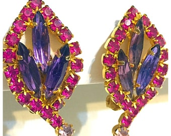 Gorgeous Vintage Purple and Magenta Rhinestone Clip on Earrings