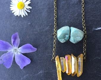 Quartz Point Necklace - Turquoise Necklace - Healing Crystal Necklace - Titanium Quartz Necklace - Gold Necklace - Boho Necklace