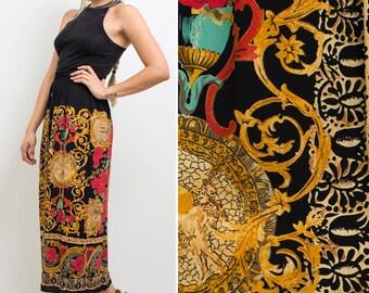Abstract print skirt vintage 90s HIGH WAIST skirt black FLORAL print Versace inspired 1990 Rayon midi skirt