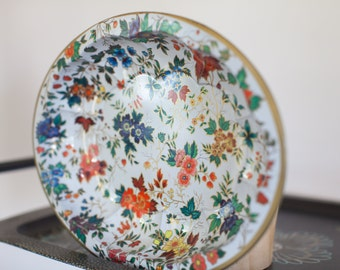 DECORATIVE TRAY Vintage FLORAL English Tin Tray