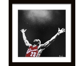 12 x 12 Lebron James Chalk Toss Cleveland Cavaliers Screenprint on Canvas