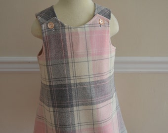 Pink plaid wool jumper A-line dress girls dress toddler dress