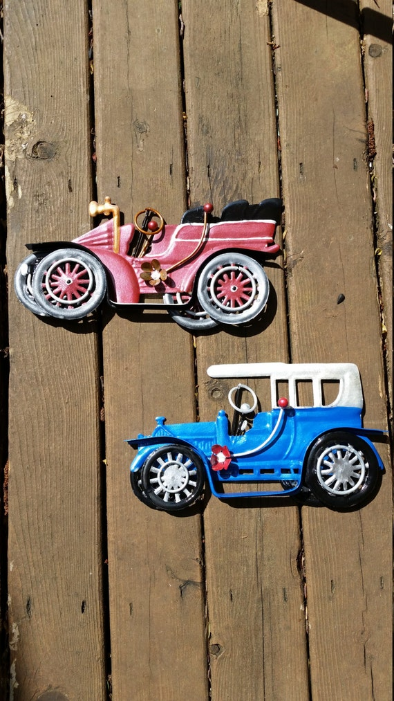 Vintage Auto Wall Decor : Classic cars metal art wall decor set of