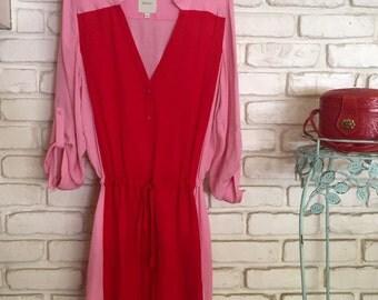 Red/Pink Playful Shirtdress