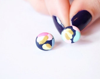 Gold and pastel splodge earrings - beautiful handmade polymer clay jewellery by Clay & Clasp
