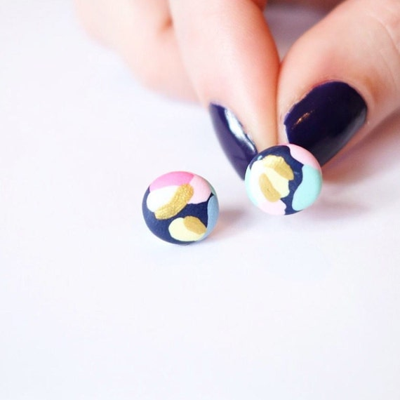 Gold and pastel splodge earrings
